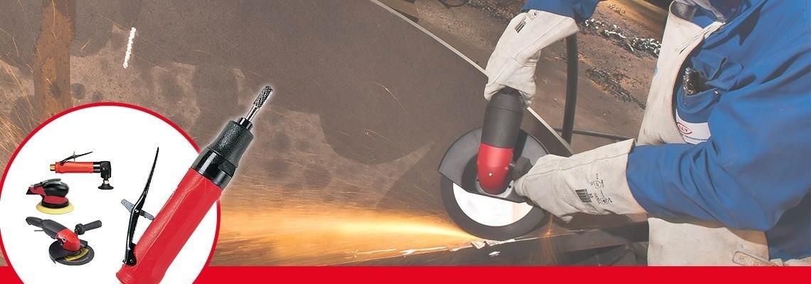 Fedezze fel a Desoutter Industrial Tools által gyártott patronos köszörűgépeket. Pneumatikus köszörűgépek teljes választéka gondoskodik a teljesítmény növeléséről. Kérjen tőlünk árajánlatot!