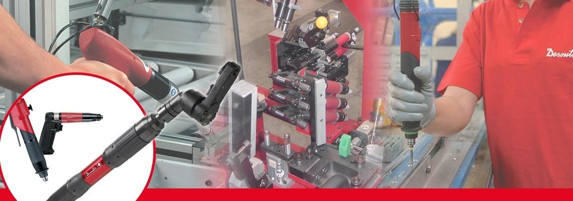 A Desoutter Industrial Tools a pneumatikus rögzítőszerszámok teljes körű választékát hozta létre, beleértve a nem lekapcsolható, minőségre és pontosságra tervezett pisztolymarkolatos csavarhúzókat.